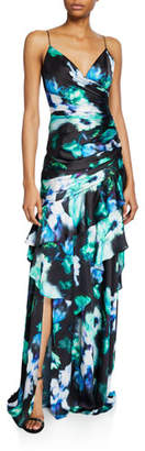Theia Charm Abstract Floral Sleeveless Ruffle-Trim Gown
