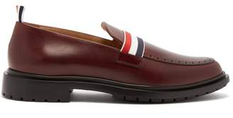 Thom Browne Web Strap Leather Loafers - Mens - Burgundy