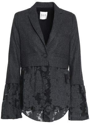 Embroidered Organza-Paneled Herringbone Wool Jacket