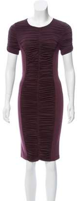 Burberry Ruched Knee-Length Dress Plum Ruched Knee-Length Dress