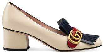 Gucci Leather mid-heel pump with Double G
