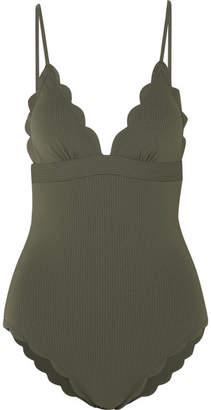 Marysia Swim Santa Clara Maillot Scalloped Stretch-crepe Swimsuit - Dark green