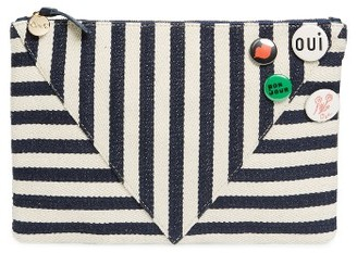 Clare V. Striped Clutch With Pins - Blue $225 thestylecure.com