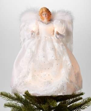 """Holiday Lane 14"""" Angel Led Christmas Tree Topper in White Dress, Created for Macy's"""