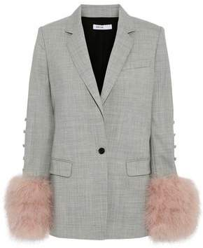 a9600a03c62c8 ADEAM Feather-embellished Button-detailed Wool-blend Blazer