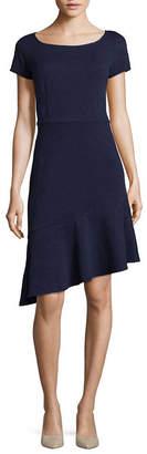 London Times Short Sleeve Floral A-Line Dress-Petite