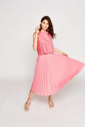Tara Jarmon Pleated Rose Skirt