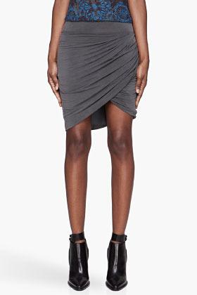 Helmut Lang Grey draped split Shade Skirt
