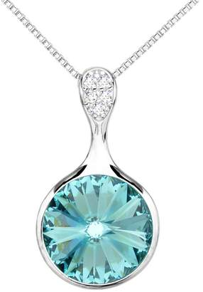 Swarovski EleQueen 925 Sterling Silver CZ Solitaire Round Pendant Necklace Adorned with Crystals