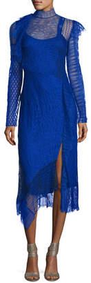 3.1 Phillip Lim Long-Sleeve Lace Patchwork Midi Dress