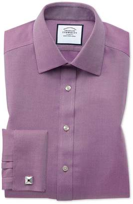 Charles Tyrwhitt Classic Fit Non-Iron Berry Arrow Weave Cotton Dress Shirt French Cuff Size 15/33
