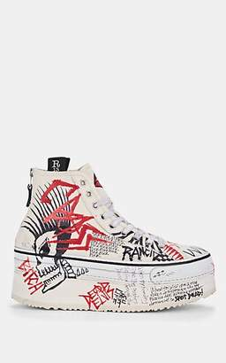 R 13 Women's Distressed Canvas Platform Sneakers - White