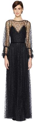 Marchesa Bishop Sleeve Glitter Tulle Gown with Lace and Velvet Trims Women's Dress