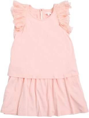 Chloé Layered Cotton Jersey Dress W/ Ruffles