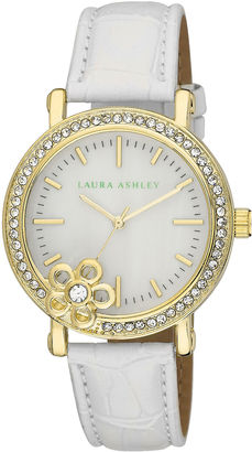 Laura Ashley Ladies White/Gold Floral Stone Bezel Watch La31013Yg $395 thestylecure.com