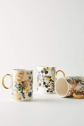 Anthropologie Gilded Botany Mug
