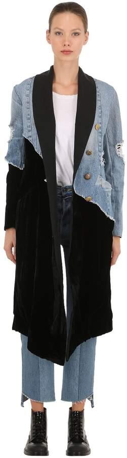 50/50 Velvet & Vintage Denim Coat