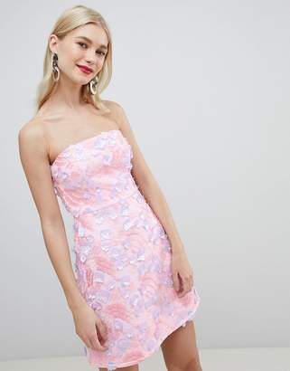 Asos Design DESIGN premium 3d floral bandeau a-line mini dress