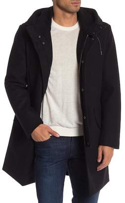 Cole Haan Faux Shearling Lined Hooded Coat