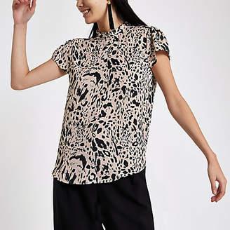 River Island Black leopard print frill neck shell top