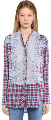 Ermanno Scervino Cotton Plaid Shirt W/ Lace Details