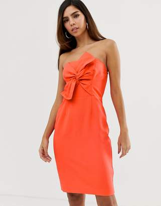 Naf Naf pencil dress with big bow on the chest