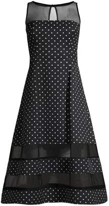 Aidan Mattox Polka Dot & Sheer Detail Dress