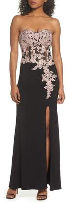 Blondie Nites Applique Strapless Bustier Gown