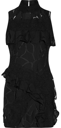 IRO - Ester Ruffle-trimmed Crocheted Cotton-blend Mini Dress - Black $440 thestylecure.com