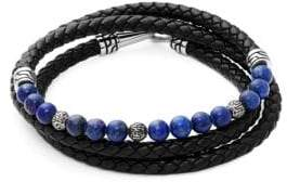 Jean Claude Lapis, Stainless Steel and Leather Wrap Bracelet