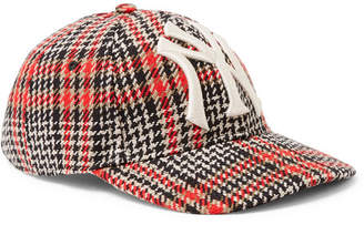 3932adc0f60 at MR PORTER Gucci + New York Yankees Appliquéd Checked Wool-blend Tweed  Baseball Cap