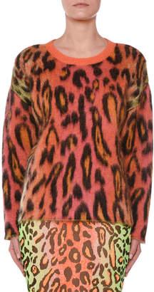 Stella McCartney Animal-Print Oversized Neon Mohair Pullover Sweater