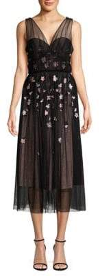 Parker Black Ruby Floral Mesh Midi Dress
