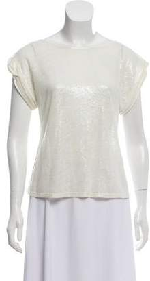 Alice + Olivia Short Sleeve Metallic Top