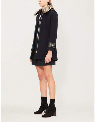 Claudie Pierlot Gentleman Bis fluffy-collar wool-blend coat