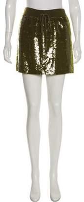 Alberta Ferretti Sequined Mini Skirt Green Sequined Mini Skirt