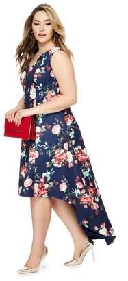 Lipsy Chi Chi London - Navy Floral Print 'Zinnia' V-Neck Plus Size Dress