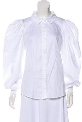 Petersyn Puffed Sleeve Button-Up Top