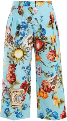 Dolce & Gabbana Floral-print cotton-poplin cropped trousers