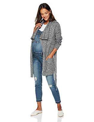 Motherhood Maternity Women's Maternity Long Sleeve Drape Front Shawl Cardigan with Waist Tie Detail