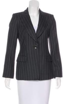 Armani Collezioni Virgin Wool Pinstriped Blazer