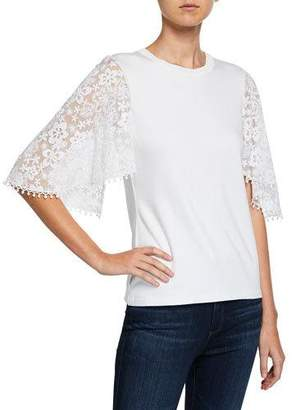 fab10a3582c6dc Elie Tahari Ida Crewneck Floral-Embroidered Short-Sleeve Knit Top