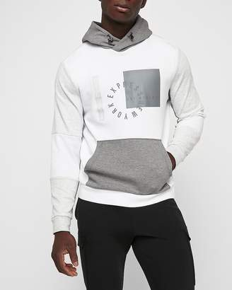 Express White Color Block Exp Graphic Hoodie
