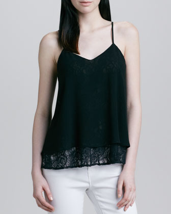 Neiman Marcus Cusp by Chiffon-Overlay Lace Camisole