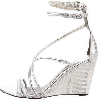 Brian Atwood Python Wedge Sandals