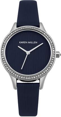 Karen Millen Women's Quartz Silver-Tone and Leather Casual Watch, Color: (Model: KM165U)