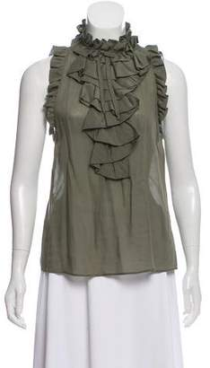Derek Lam Sleeveless Cascade-Collared Blouse