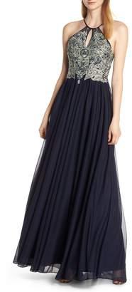 Sequin Hearts Embellished Evening Dress