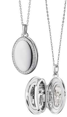 Monica Rich Kosann Four Image White Sapphire Locket Necklace