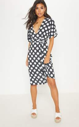 PrettyLittleThing Monochrome Polka Dot Midi Dress